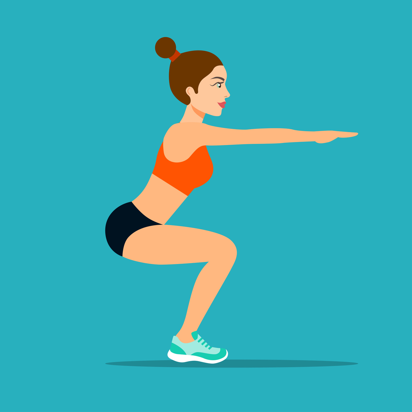 Young sportswoman in sportwear doing squats. Vector flat style isolated illustration.
